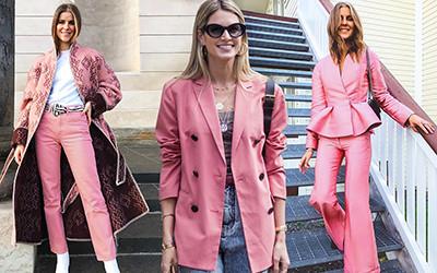Пудровый розовый цвет в образах street style модниц