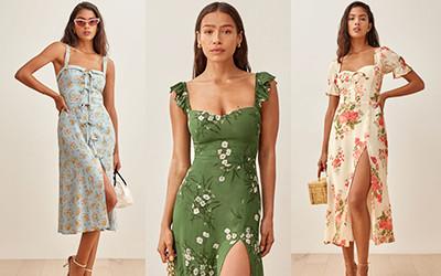 Модные летние платья с разрезом 2021 от бренда Reformation
