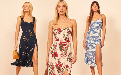 Модные летние платья с разрезом на ноге от бренда Reformation