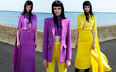 Желтый и пурпурный в ярких образах из коллекции Alex Perry осень-зима 2020-2021