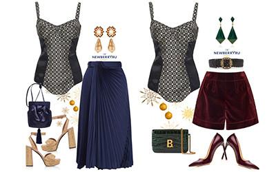 Новогодние вечерние образы с атласным боди Etro в модных сетах