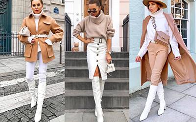 Как стильно носить белые сапоги на примере модницы Laura Blair