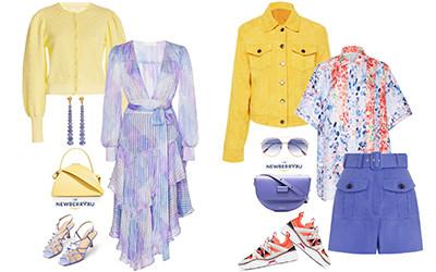 Сочетаем модные оттенки желтого и фиолетового в одежде и аксессуарах