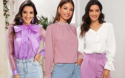 Выбираем элегантные однотонные блузы на весну не дороже 20$