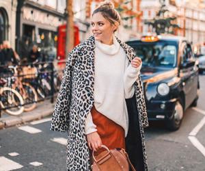 Леопардовые пальто и шубы. Примеры на модных блогерах.
