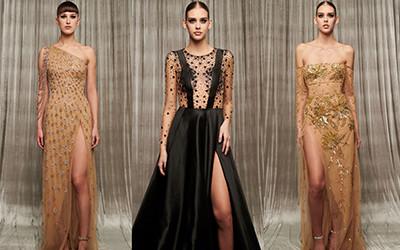 Золотые и черные вечерние платья из коллекции Georges Hobeika осень-зима 2019-2020