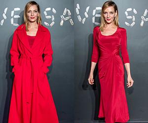 Uma Thurman в красном платье на показе Versace Pre-Fall 2019