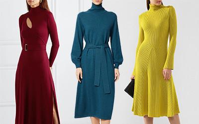 Выбираем шерстяное платье с высоким воротником