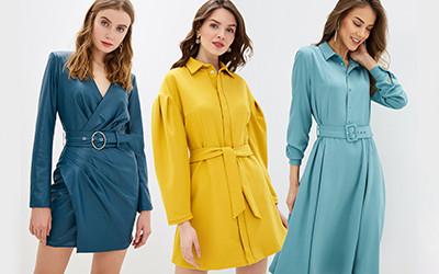 Выбираем однотонные платья с поясом на весну 2020