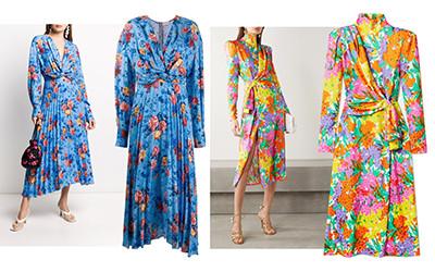 Модные шелковые платья в цветочный принт весна-лето 2020