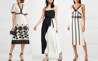 Стильные черно-белые платья для мам на первое сентября