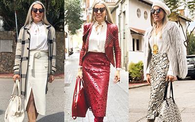 Модные образы в юбках для женщин за 50 от испанской модницы