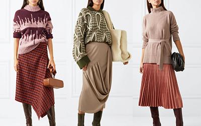 Как стильно носить тёплый свитер и юбку?