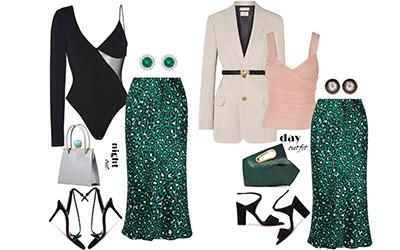 5 образов с шелковой юбкой-миди Olivia von Halle в модных сетах