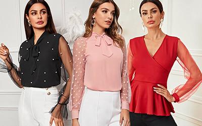 10 нарядных блуз с полупрозрачным рукавом не дороже 15$