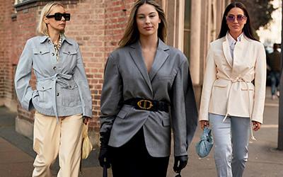 Модные женские образы в жакете с поясом от street-style героинь