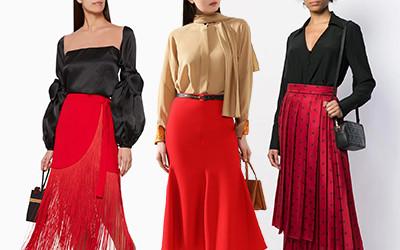 10 элегантных вечерних образов с красной юбкой