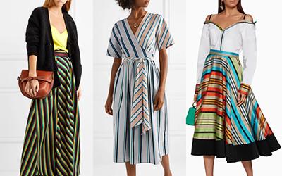 Небанальные платья и юбки миди в полоску на лето