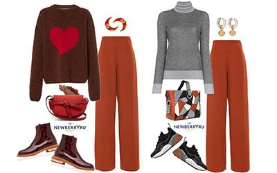 5 образов с рыжими брюками в модных сетах