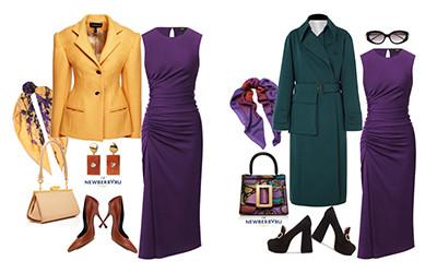 5 образов с фиолетовым платьем Theory в модных сетах