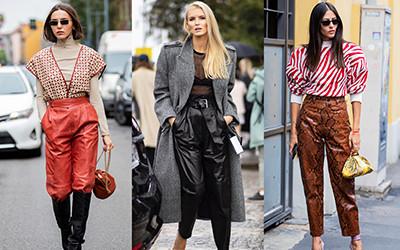 Как стильно носят кожаные брюки streetstyle модницы?