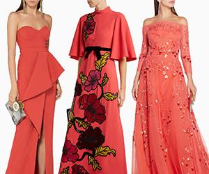 Вечерние платья в модном коралловом цвете 2019 года по версии Pantone