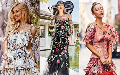 Платье в цветочный принт. Примеры на модных блогерах.
