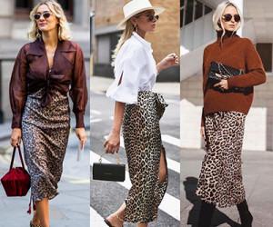 Леопардовая юбка. Примеры на модных блогерах.