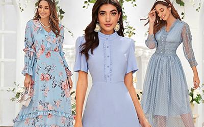 15 красивых нежно-голубых платьев на весну