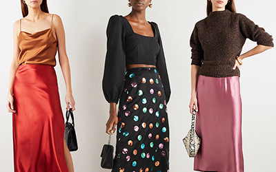 С чем носить модную сатиновую юбку?