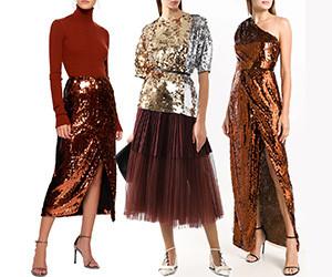 Блузы, юбки, брюки, платья с пайетками! Выбираем лучший новогодний образ.