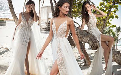 Красивые свадебные платья с разрезом 2020
