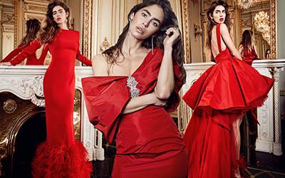 Красные вечерние платья из коллекции Yolan Cris Pre-Fall 2020
